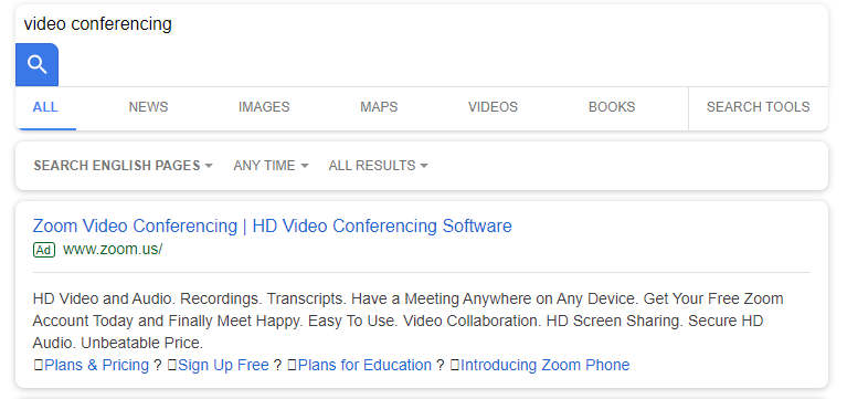 google advertisment screenshot of zoom.us