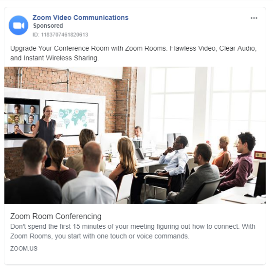 facebook advertisment for zoom.us