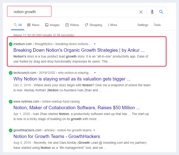 Ankur's article on Notion's growth strategies ranking on Google SERP