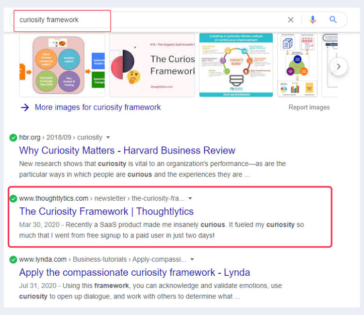 Ankur's curiosity framework ranking on Google SERP